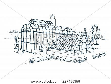 Freehand Sketch Of Exterior Of Exotic Botanical Garden Surrounded By Bushes And Trees Growing In Pot
