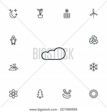 Set Of 13 Bio Icons Line Style Set. Collection Of Sun, Sun Power, Panda Elements.