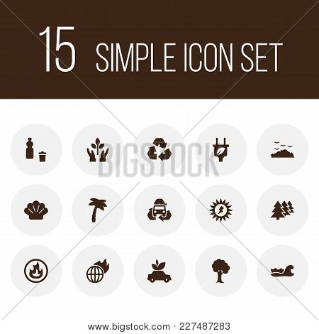 Set Of 15 Bio Icons Set. Collection Of Nature, Afforestation, Global Warming And Other Elements.