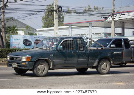Chiang Mai, Thailand -january 16 2018:  Private Old Pickup Car, Toyota Hilux Mighty X. On Road No.10