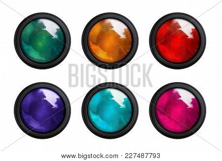 Variation Color Of Traffic Light Isolated On White Background With Clipping Path