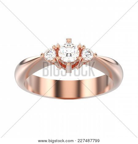 3d Illustration Isolated Rose Gold Three Stone Diamond Ring On A White Background