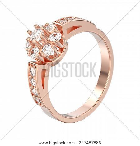 3d Illustration Isolated Rose Gold Decorative Flower Diamond Ring On A White Background