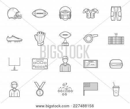 American Football Signs Black Thin Line Icon Set Include Of Ball, Helmet, Whistle, Trophy, Uniform S