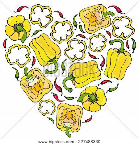 Heart Of Yellow Bell Peppers. Whal Pepper, Half Of Sweet Paprika, Cuts. Fresh Ripe Raw Vegetables. H