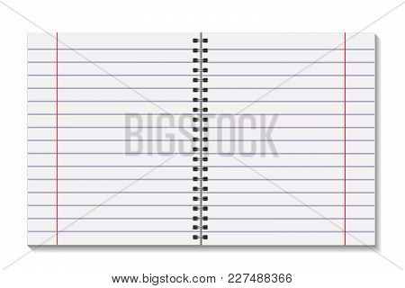 Blank Open Pages Book With Binder Metal Spiral Template. A Sheet Of Paper In Line. Notebook Mock Up