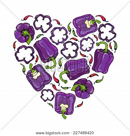 Heart Of Purple, Red, Prange, Green, Yellow, Violet Bell Peppers. Whal Pepper, Half Of Sweet Paprika