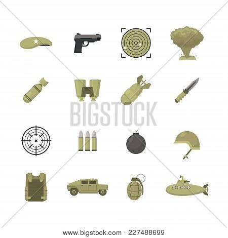 Cartoon Color Army Weapons Icons Set Military Concept Flat Design Style Include Of Explosion, Mine,