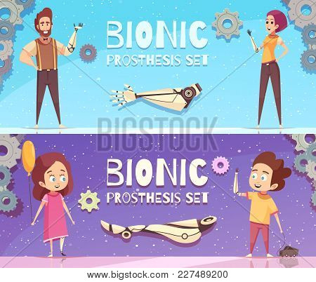 Bionic Prosthesis Banners Collection With Horizontal Compositions Of Gear Images Editable Text And H