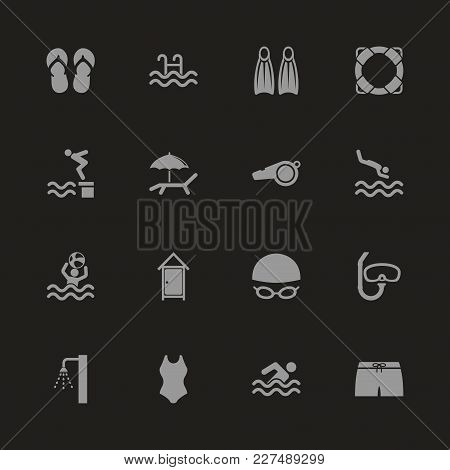 Water Pool Icons - Gray Symbol On Black Background. Simple Illustration. Flat Vector Icon.