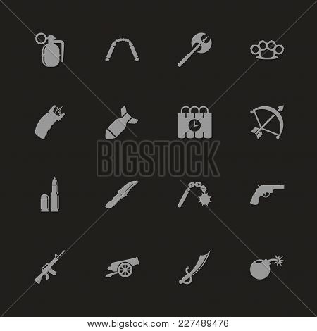 Weapon Icons - Gray Symbol On Black Background. Simple Illustration. Flat Vector Icon.