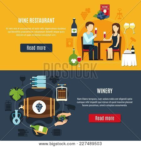 Flat Design Banners Set With Winery Icons And People Drinking Wine At Restaurant Isolated Vector Ill