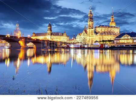 Dresden Skyline At A Night In Germany