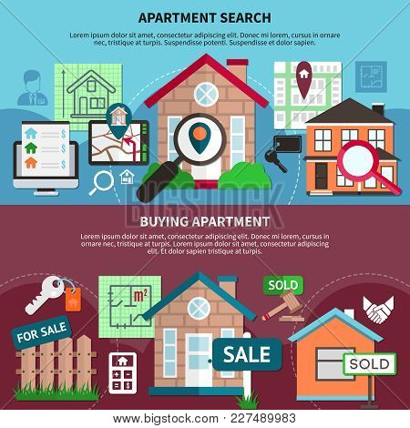 Flat Real Estate Composition Set With Apartment Search And Buying Apartment Descriptions Vector Illu