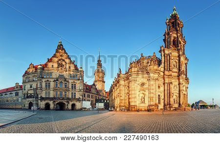 Dresden Square, Germany, Hofkirche At A Day