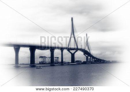 The Bridge In Cadiz Is 5 Kilometers Long And 185 Meters High,called La Pepa.spain, Cadiz, February 2