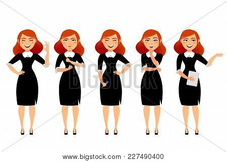 Business Woman In Various Poses Flat Vector Illustration. Cartoon Character Of Business Woman Isolat