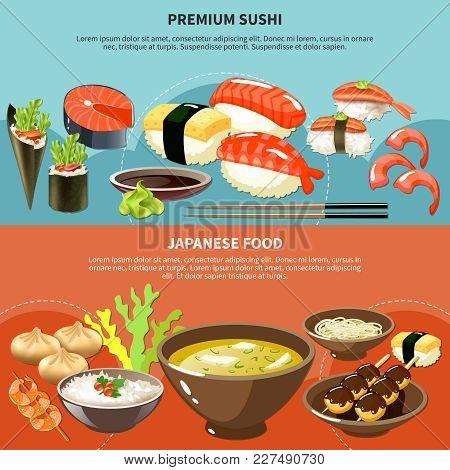 Two Colored Sushi Colored Banner Set With Premium Sushi And Japanese Food Descriptions Vector Illust