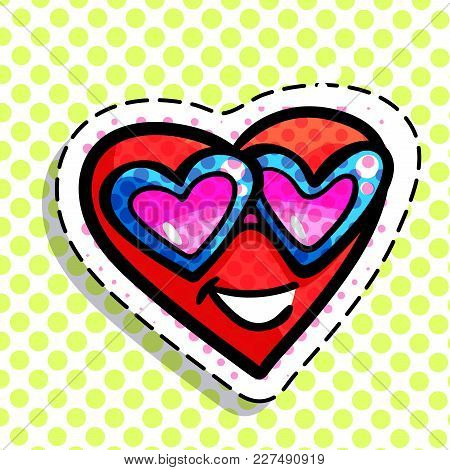 Red Smiling Heart On Dots Background. Art Design For Valentines Day Greetings And Card In Pop Art Sy