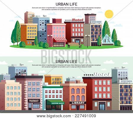 Urban Life Horizontal Banners With Picturesque Town Center Shopping Area Houses With Zoom Effect Iso