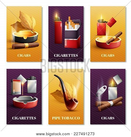 Tobacco Products Realistic Cards Set With Pipe And Cigars Symbols Isolated Vector Illustration