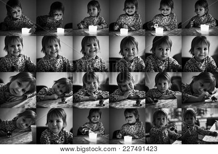 Multiple Collage With Portraits Of A Same Cute Little Boy. Monochrome Black And White.