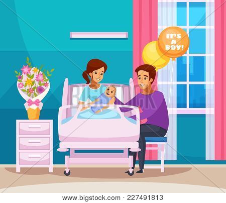 Childbirth Cartoon Composition With Happy Family With Newborn Boy In Chamber Of Maternity Hospital V