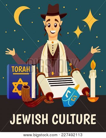 Cartoon Jews Characters Composition Background With Flat Images Of Jewish Human Character Torah Book