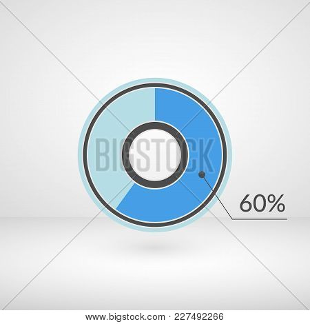 60 Percent Pie Chart Isolated Symbol. Percentage Vector Infographics. Circle Diagram Sign. Business