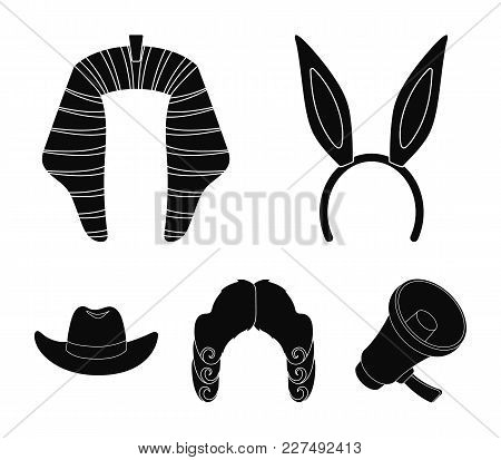 Rabbit Ears, Judge Wig, Cowboy. Hats Set Collection Icons In Black Style Vector Symbol Stock Illustr