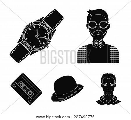 Hipster, Fashion, Style, Subculture .hipster Style Set Collection Icons In Black Style Vector Symbol