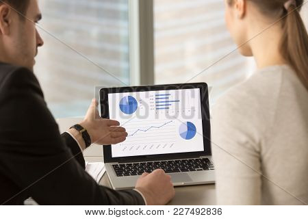 Businessman Showing Company Financial Indicators, Economic Forecast, Profitability Fluctuations, Sta