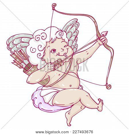Angel Or Cupid In Hand Drawn Style. Angel Sitting On A Cloud And Takes Aim At A Target With An Arrow