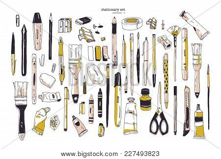 Collection Of Hand Drawn Stationery Or Writing Utensils. Set Of Office And Art Supplies Isolated On