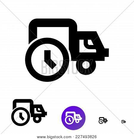 Shipping Icon For Business, E-commerce. Vector Line Truck Icon With The Image Of A Clock Of Differen