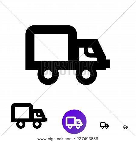 Shipping Icon For Business, E-commerce. Vector Line Truck Icon Of Different Sizes 192px, 108px, 48px