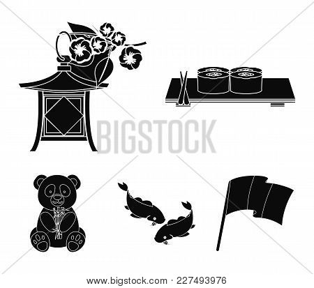 Sushi, Koi Fish, Japanese Lantern, Panda.japan Set Collection Icons In Black Style Vector Symbol Sto