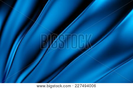 Blue Silk Drapery And Fabric Background. 3d Rendering