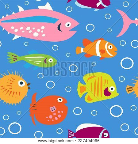 Cute Children's Pattern With Decorative Tropical Fish