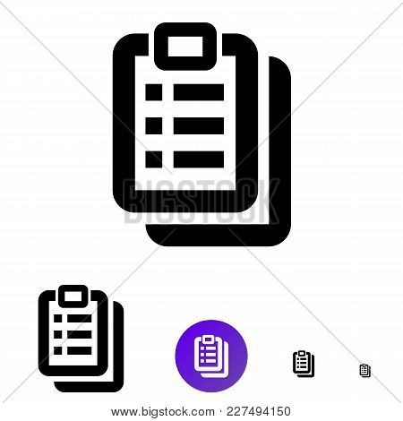 Clipboard Icon For Business, E-commerce. Vector Line Icon Of Different Sizes 192px, 108px, 48px, 24p