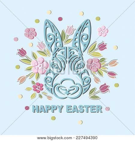 Bunny Head Isolated On Background With Flowers. Rabbit Head As Easter Logo, Pet Shop, Badge, Icon. T