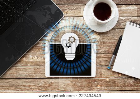 Lamp Icon On Virtual Screen. Business Solution. Innovation Concept