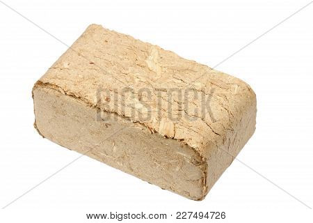 Alternative Fuel, Bio Fuel. Wood Sawdust Briquettes On White Background. Eco Briquet From Sawdust Pe