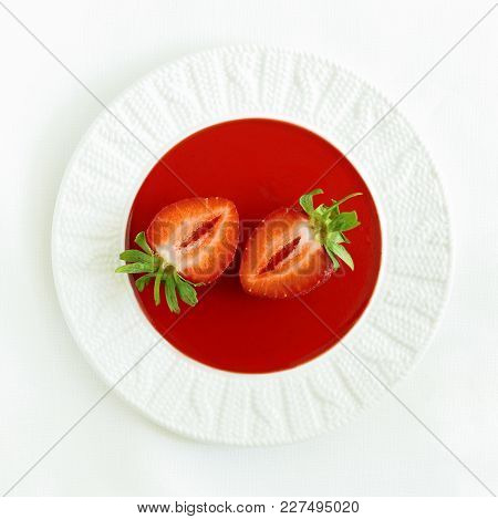 Strawberry Jam On A Plate With Fresh Strawberries In A High Key. Strawberry Jujube. Summer Dessert.