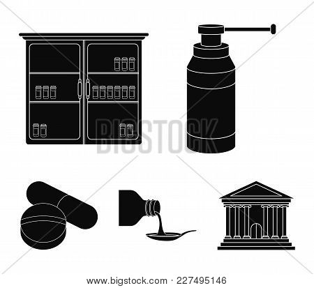 Inhaler, Medical Cabinet, Tablets, Syrup In A Spoon.mtdicine Set Collection Icons In Black Style Vec