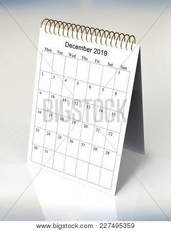 The Original Calendar For December, 2019.  The Beginning Of Week - Monday