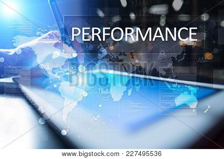 Performance Indicator On Virtual Screen. Kpi. Business Growth Strategy