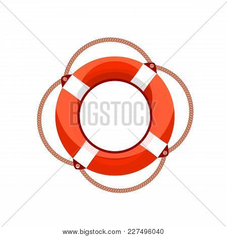 Vector Illustration Of The Lifebuoy Isolated On White Background, Colored Logo Template.