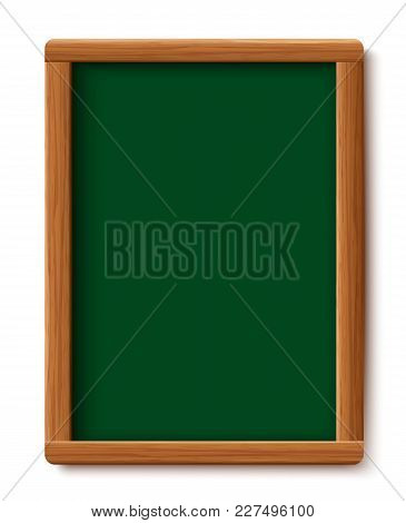 Green Menu Chalkboard. Wood Board  Frame Isolated On White Background. Vector Illustration Design