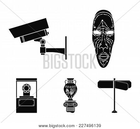 African Mask, Video Surveillance, Vase, Diamond Under The Dome. Museum Set Collection Icons In Black